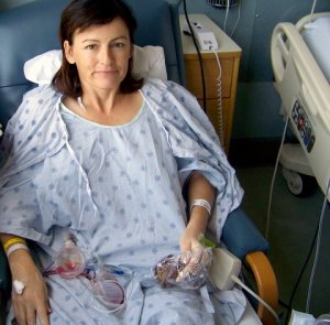 The day after my double mastectomy in 2008.